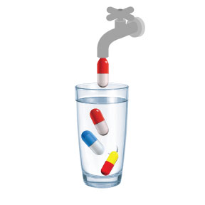 Pills-in-Water-Glass