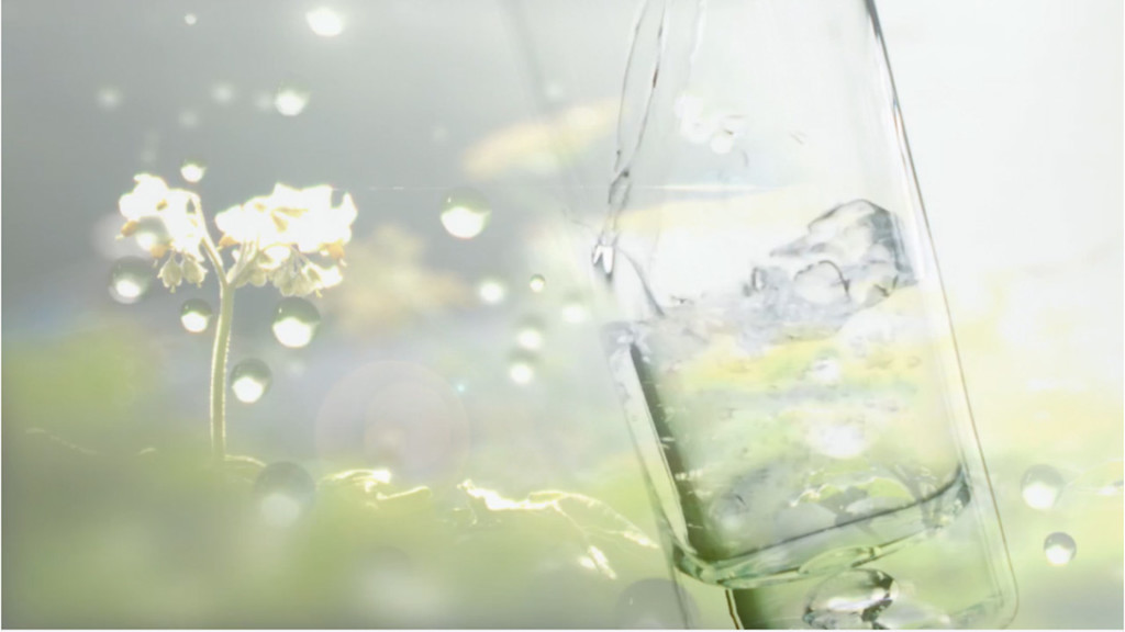 water glass green background